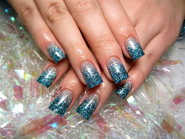 Dashing Blue And Silver Nails With Sparkling Nail Paint