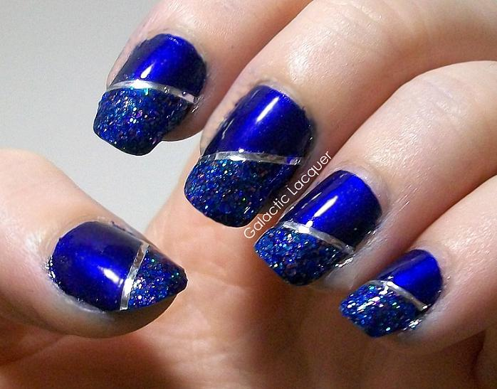 Dashing Blue And Silver Nails