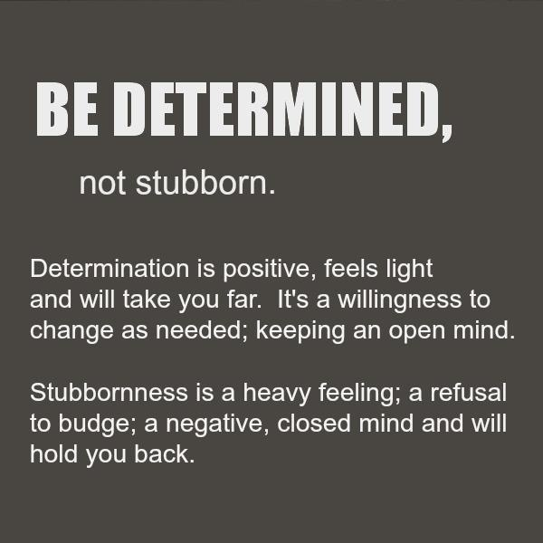 Determination sayings be determined not stubborn