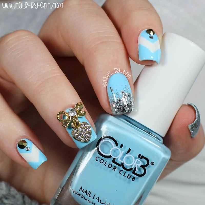 Divine Beauty Blue And Silver Nails