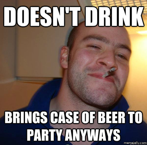 Does't drink brings case of beer to party anyways Funny Party Meme