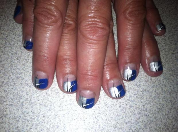 Eye Catching Blue And Silver Nails (2)