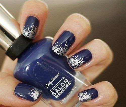 Fabulous Blue And Silver Nails With Great tip