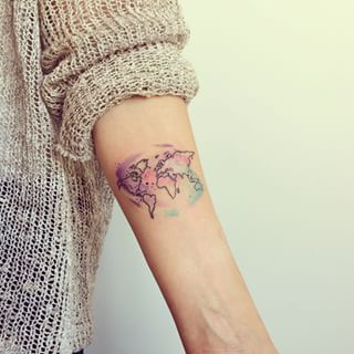 Famous World Map Tattoo On Arm for Women