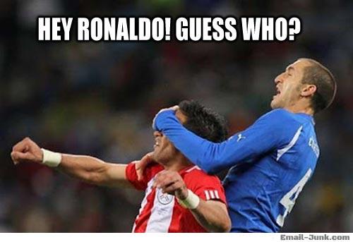 Football Meme hey ronaldo guess who