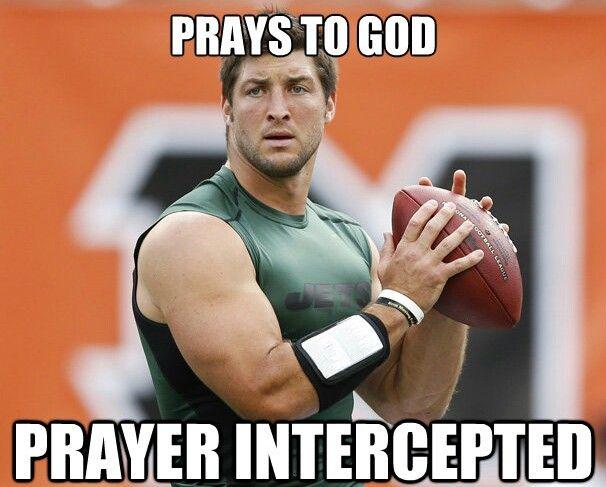 Football Meme prays to god prayer intercepted