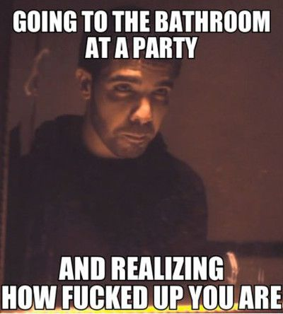 Going to the bathroom at a party Funny Party Meme