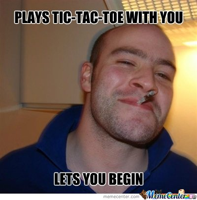 Good Evening Meme plays tic tac toe with you lets you begin