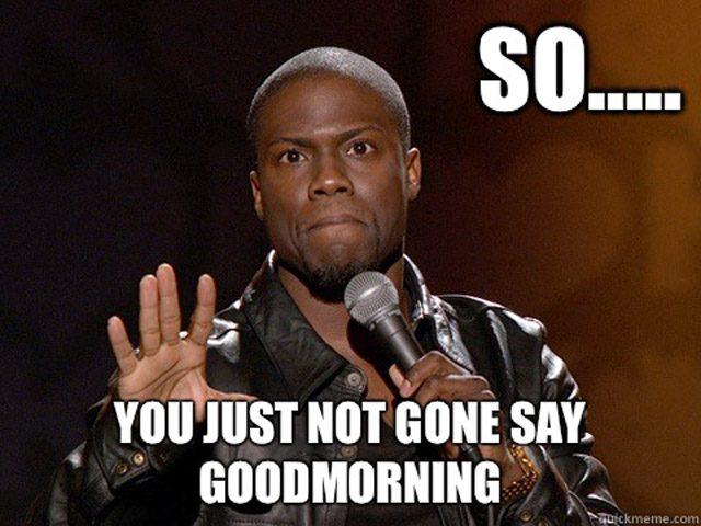 Good Morning Meme you just not gone say good morning
