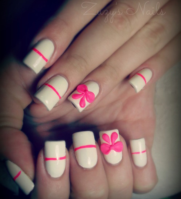 Great Bow Nails With 3D Bow