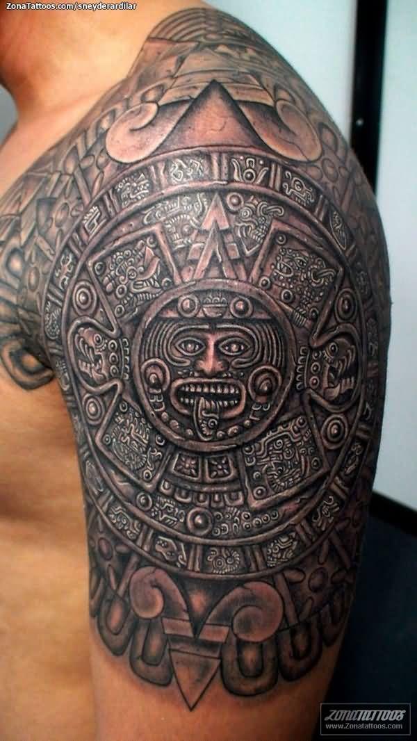Groovy Aztec Tattoo on Shoulder for men