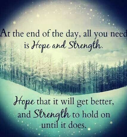 Hope Quotes at the end of the day all you need is hope and strength