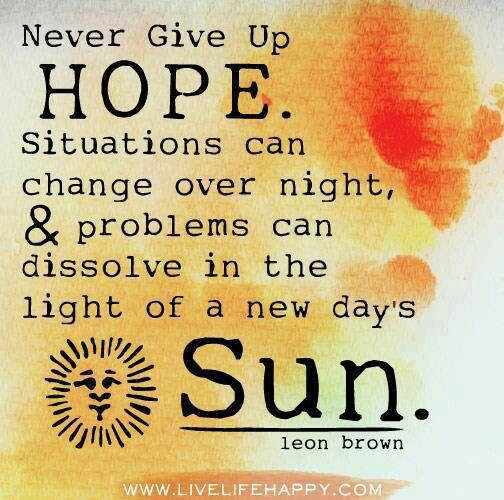 Hope Quotes never give up hope situations can