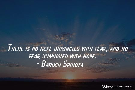 Hope Quotes there is no hope unmingled with fear and no fear