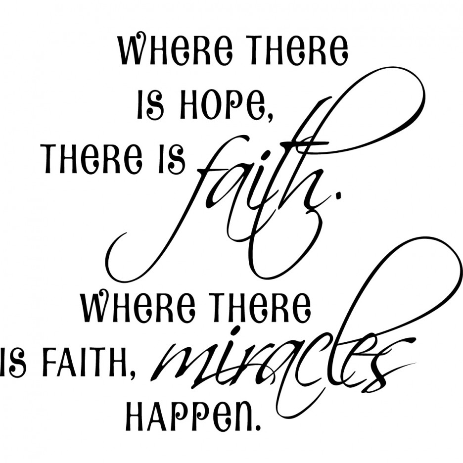Hope Sayings Where there is hope there is faith