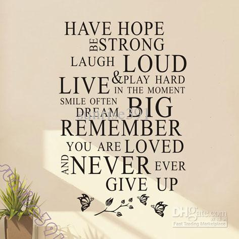 Hope Sayings have hope be strong laugh loud live play