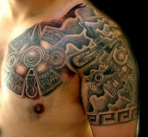 Horrible Aztec Tattoo On Shoulder For Boys