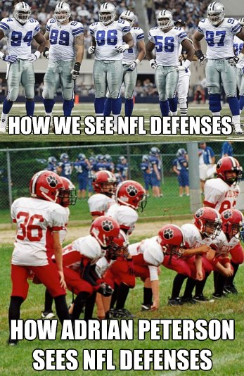 How we see nfl defenses how adrian peterson sees nfl defenses American Football Memes