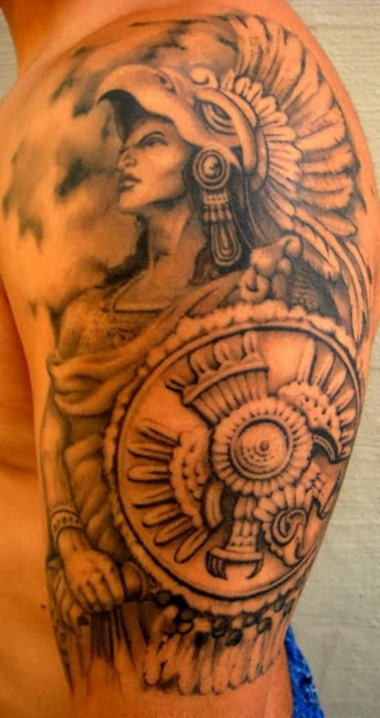 Impressive Aztec Tattoo on Shoulder for men
