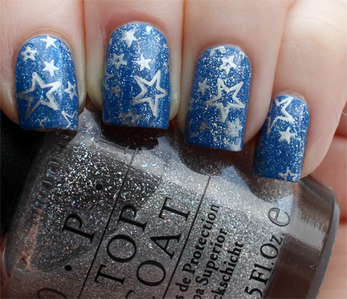 Incredible Blue And Silver Nails With Star Design