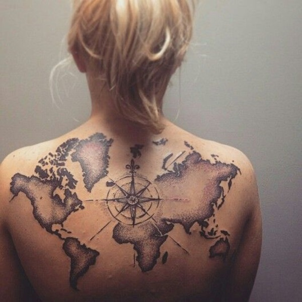 Innovative world map tattoo on back for girls picsmine innovative world map tattoo on back for girls gumiabroncs Images