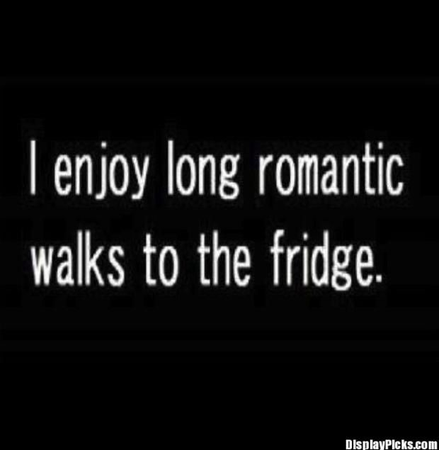 Interesting Quotes i enjoy long romantic walk to the fridge