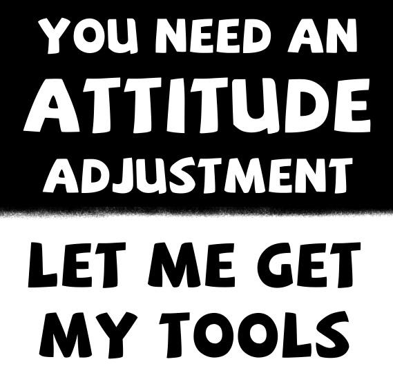 Interesting sayings you need an attitude adjustment let me get my tools