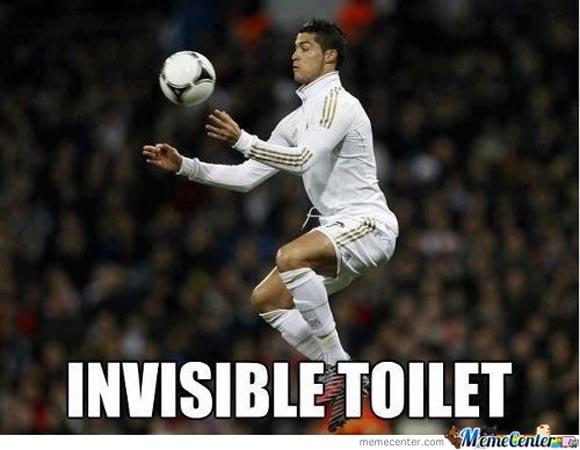Invisible toilet Football Meme