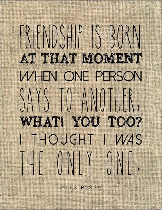 Literary Quotes friendship is born at that moment when one person