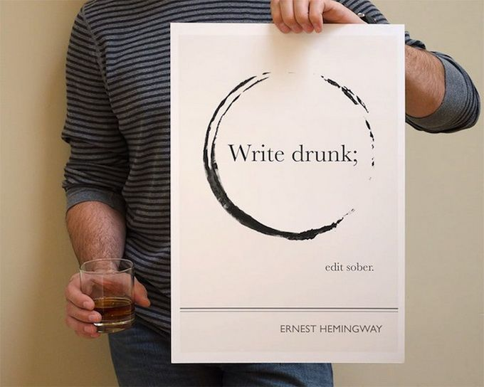 Literary Quotes write drunk