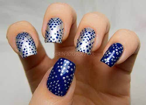 Mind Blowing Blue And Silver Nails With Polka Dot