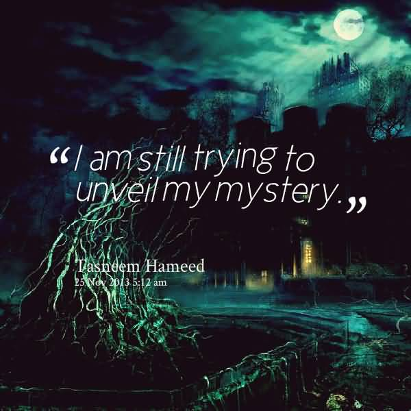 Mystery Quotes I'm still trying to unveil my mystery