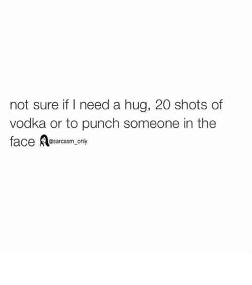 Not sure if i need a hug 20 shots of vodka or to punch Hug Meme