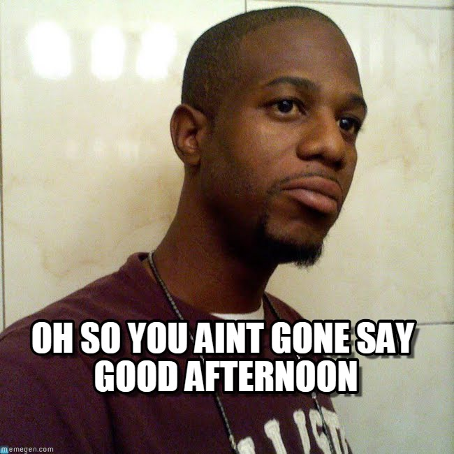 Oh so you aint gone say good afternoon Good Afternoon Memes