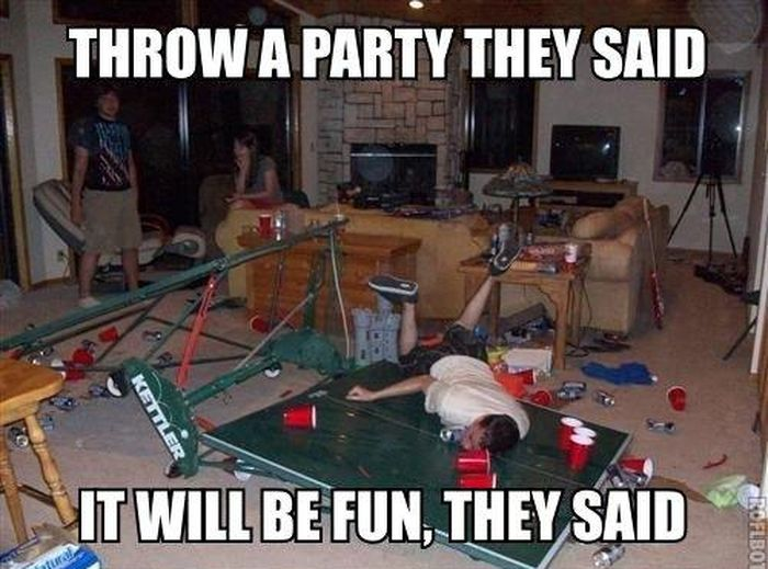 Party Memes throw a party they said it will be fun they said