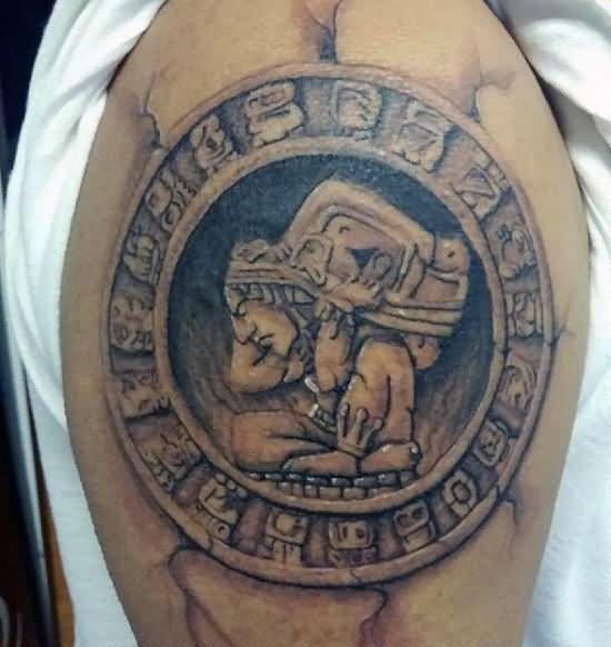 Popular Aztec Tattoo on Shoulder for men