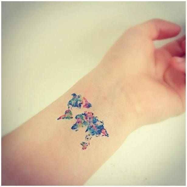 Popular World Map Tattoo On Arm for girls
