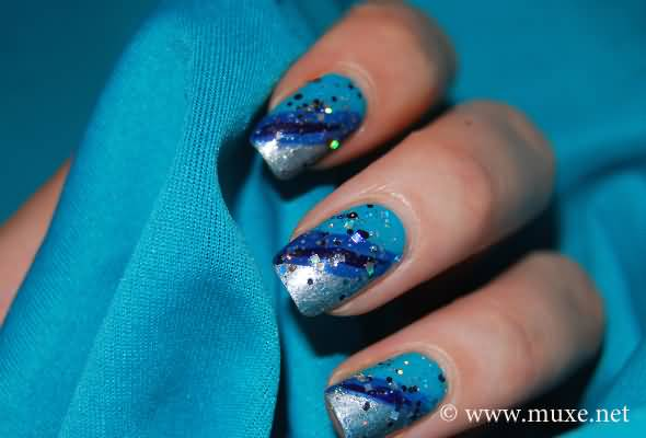 Sensational Blue And Silver Nails (3)