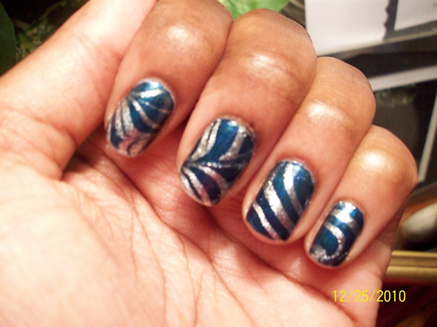 Sensational Blue And Silver Nails