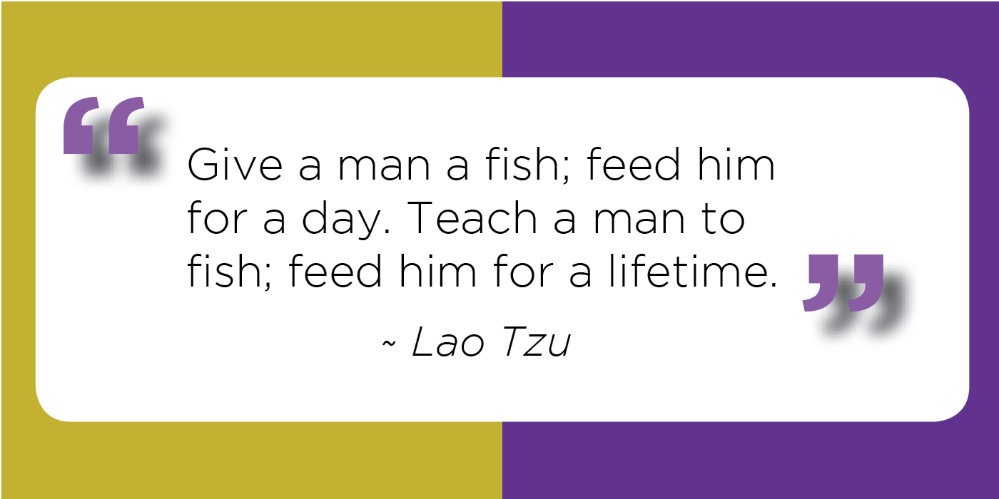 Teach Sayings give a man a fish feed him for a day teach a man to fish feed him for a lifetime
