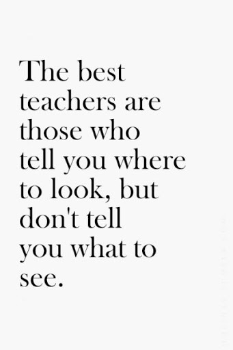 Teacher Sayings the best teachers are those who tell you where to look but don't tell you what to see
