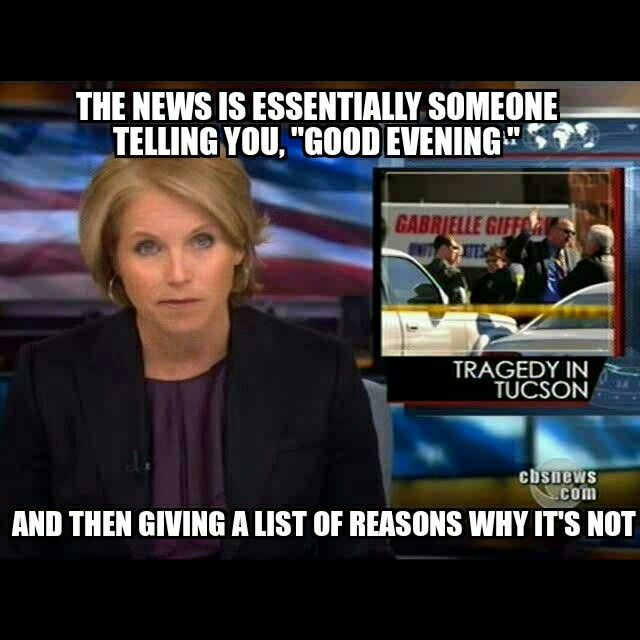 The news is essentially someone telling you good evening Good Evening Meme