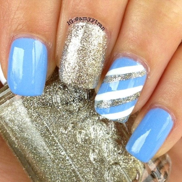 Trendy Blue And Silver Nails With Silver