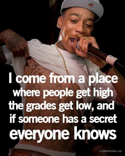 Wiz Khalifa Sayings i come from a place where people get high the grades get