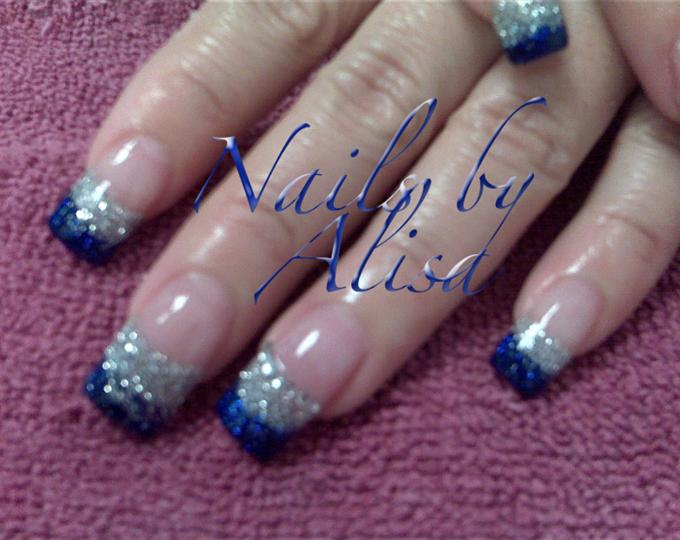 Wonderful Blue And Silver Nails By Alisa
