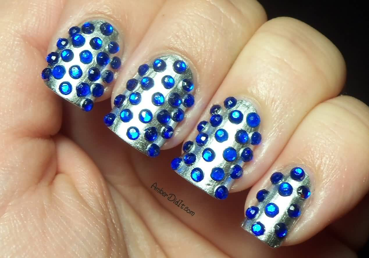 Wonderful Blue And Silver Nails With Crystal
