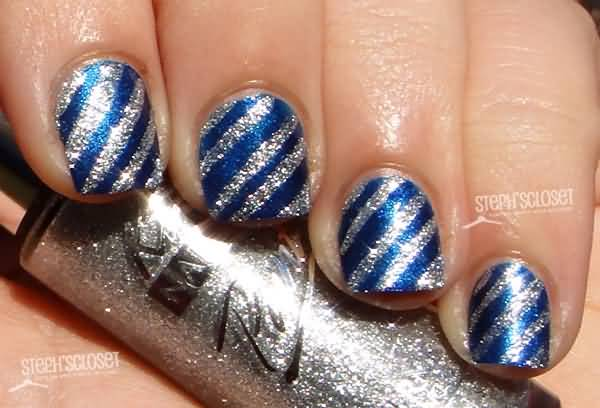 Wonderful Blue And Silver Nails