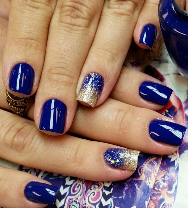 ... 600 × 661 in 77 Attractive Royal Blue Nails ... - Wonderful Blue Nails With Golden Paint Picsmine