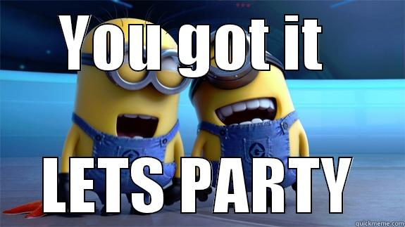 You got it lets party Funny Party Meme