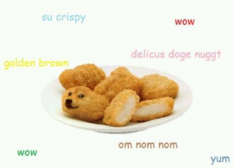 doge meme su crispy wow delicus doge nuggt golden brown